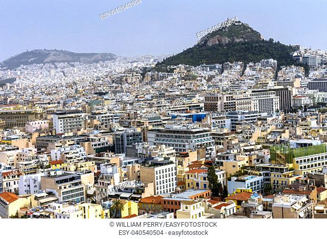 Neighborhoods from Acropolis Church Mount Lycabettus Athens Greece. Tallest mountain in Athens