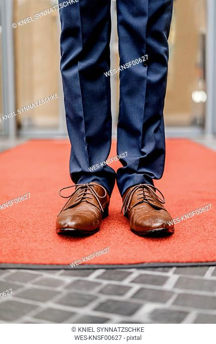 Businessman standing on red carpet, partial view