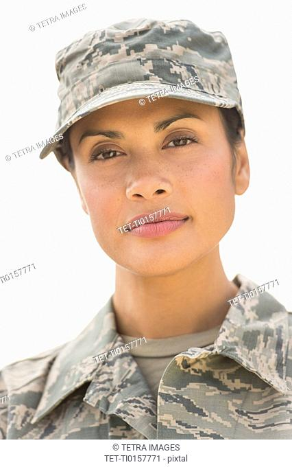 Portrait of female army soldier