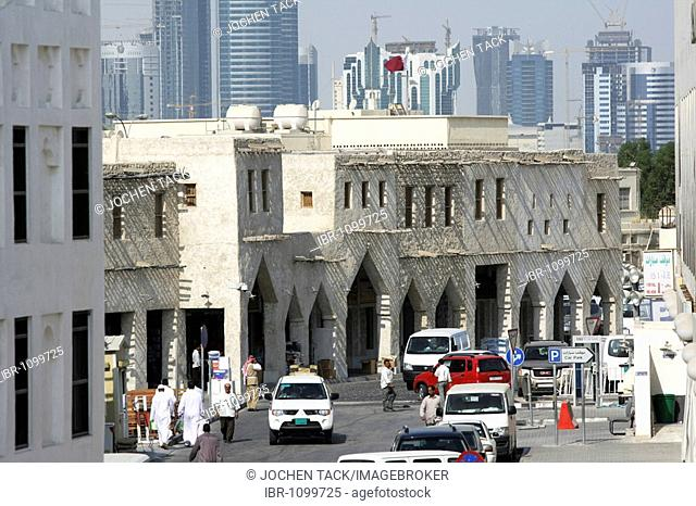 Souq al Waqif, oldest souq, bazaar in the country, the old part is newly renovated, the newer parts have been reconstructed in a historical style, Doha, Qatar