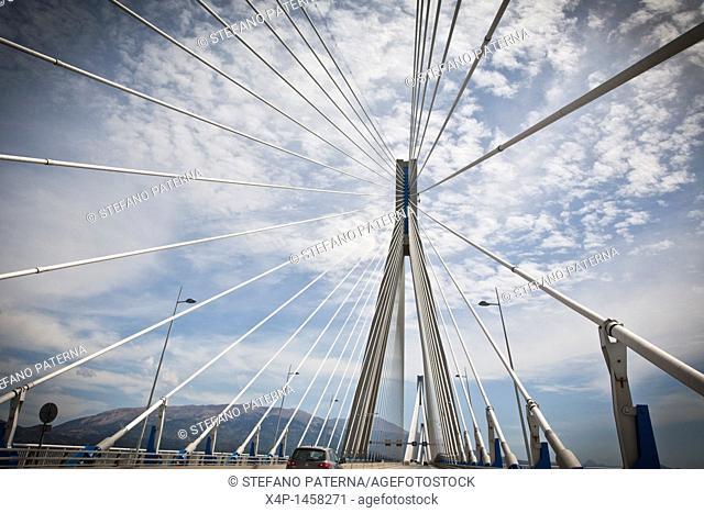 'Charilaos Trikoupis' bridge linking Rio and Andirio  From mainland Greece to the Peloponnese, across the Gulf of Corinth