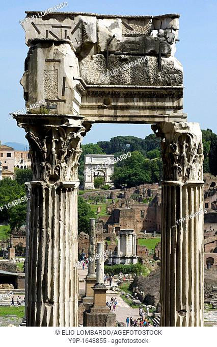 The Remains of the Temple of Vespasian and Titus in the Roman Forum, Rome, Latium, Italy