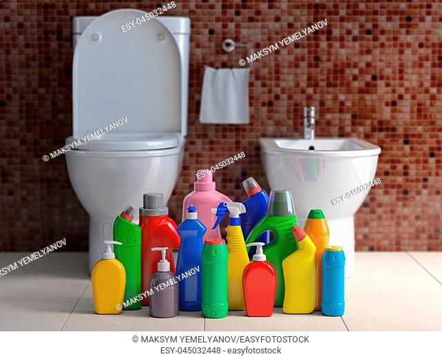 Detergent bottles and containers. Cleaning supplies in wc bathroom toilet interior backgrount. Home cleaning service concept. 3d illustration