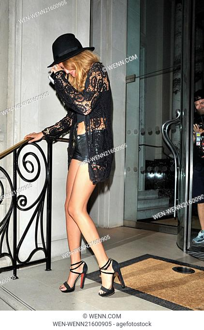 Celebrities at 'An Evening with Pixie Lott' hosted by PANDORA and Virgin EMI at Langham Hotel Featuring: Millie Mackintosh,Professor Green Where: London