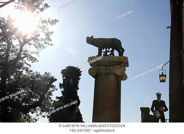 Romulus and Remus and she wolf statue by the capitol hill in Rome, Italy