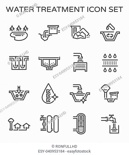 Vector line icon of water treatment system and water filter