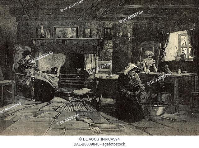 Interior of a fisherman's cottage on the isle of Man, United Kingdom, engraving from The Illustrated London News, No 2216, November 5, 1881