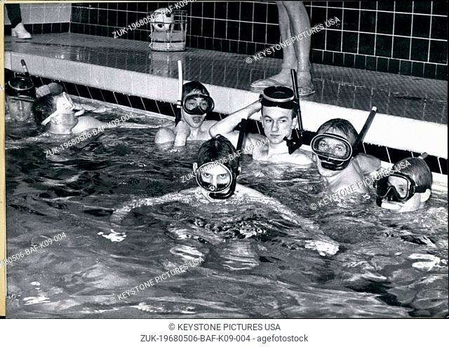 May 06, 1968 - Pictured are some of the sports enthusiasts of the new sport underwater Rugby in Wattenscheid, Germany. They belong to the Deutschen Unterwasser...