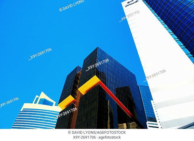 City centre Doha, Qatar. Towers line Majlis Al Taawon Street. L-R Qatar Petroleum District, Golden Bay Tower and Al Emadi Tower