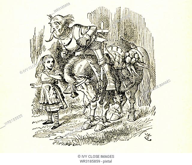 This illustration of Alice and tthe Old Knight on Horseback is from Through the Looking-Glass and What Alice Found There by Lewis Carroll (Charles Lutwidge...