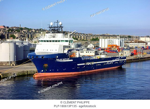Solvik Supplier, offshore tug / supply ship docked in the Aberdeen port, Aberdeenshire, Scotland, UK
