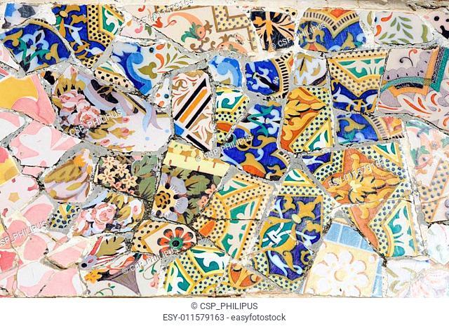 Mosaic in Park G�ell, Barcelona Spain
