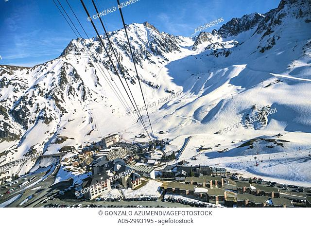 Grand Tourmalet ski area. La Mongie ski resort. Luz-Saint Sauveur. Hautes-Pyrenees Department. Midi-Pyrenees Region. France