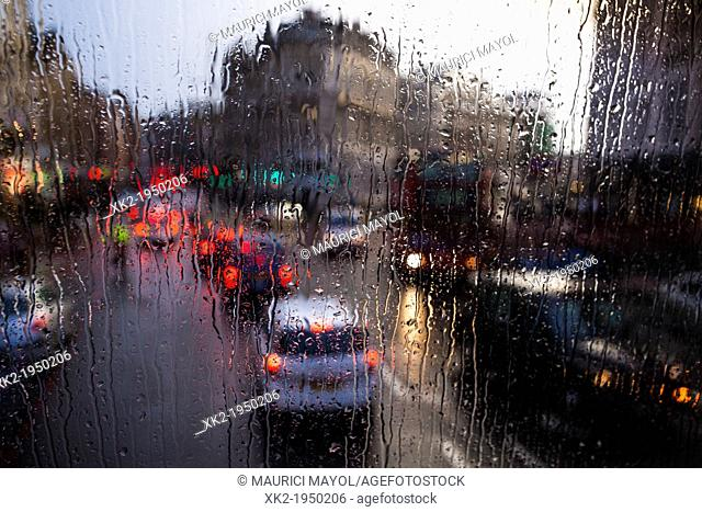 Drops and rain and traffic jam from a bus window, near Borough Market, London, UK