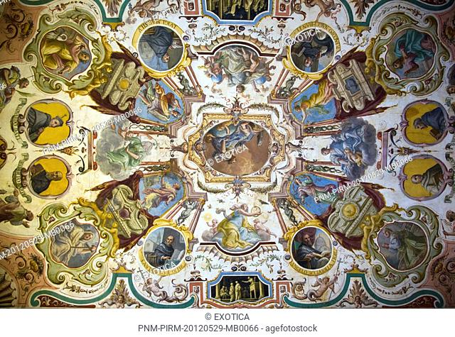 Ceiling frescos in the Uffizi Museum, Florence, Tuscany, Italy