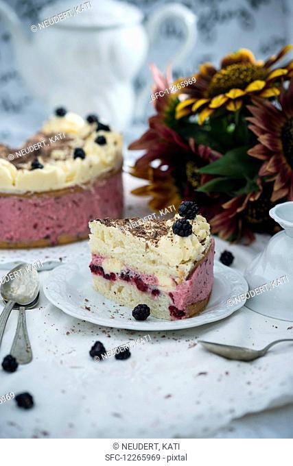 Vegan blackberry buttercream cake