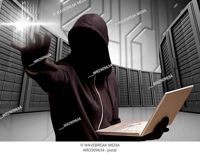 Anonymous Criminal in hood with laptop in front of servers