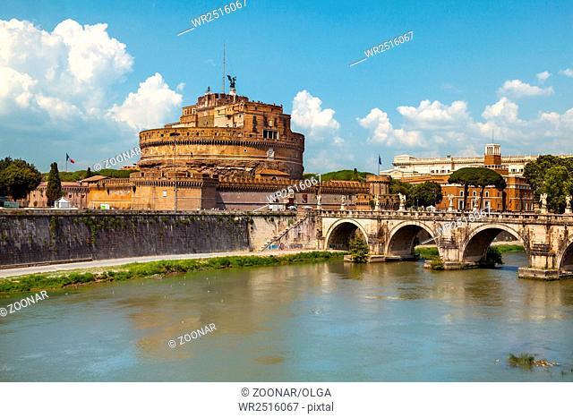 Saint Angel Castle and bridge in Rome, Italy