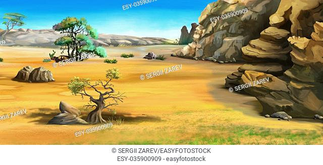 Digital Painting, Illustration of a African landscape with trees near the mountains. Cartoon Style Character, Fairy Tale Story Background