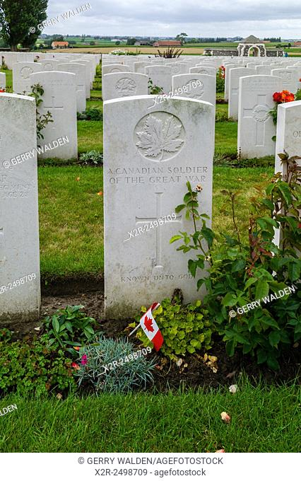 Grave marker honouring an unknown Canadian soldier, Tyne Cot Cemetary, Belgium