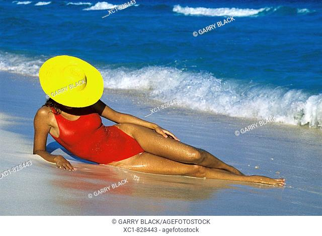 Woman on Beach, Caribbean Sea, Cancun, Mexico