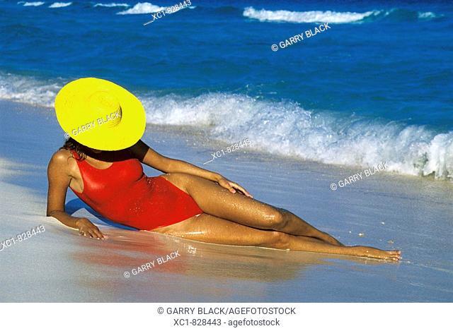 Woman on Beach, Caribbean Sea, Cancun, Mexico