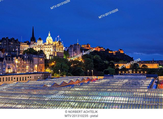 Waverley Station roof, Bank of Scotland and urban skyline, Scotland