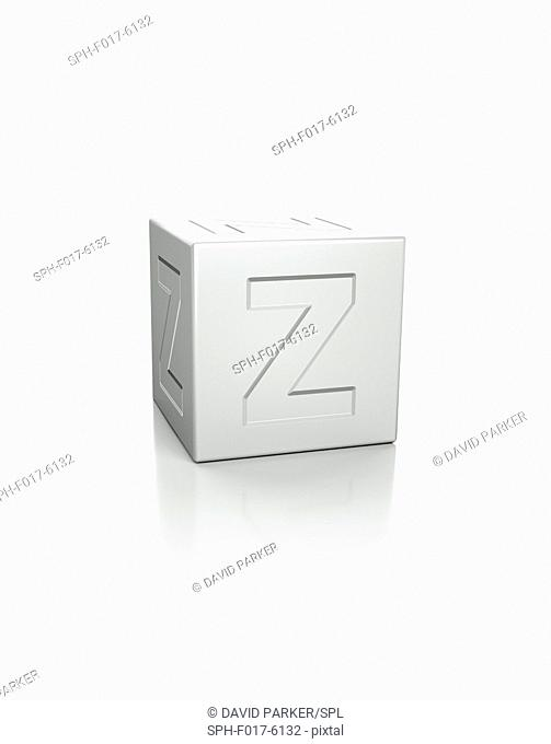 Cube with the letter Z embossed