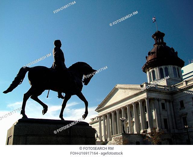 Columbia, SC, South Carolina, State House, State Capitol, Wade Hampton Equestrian Statue