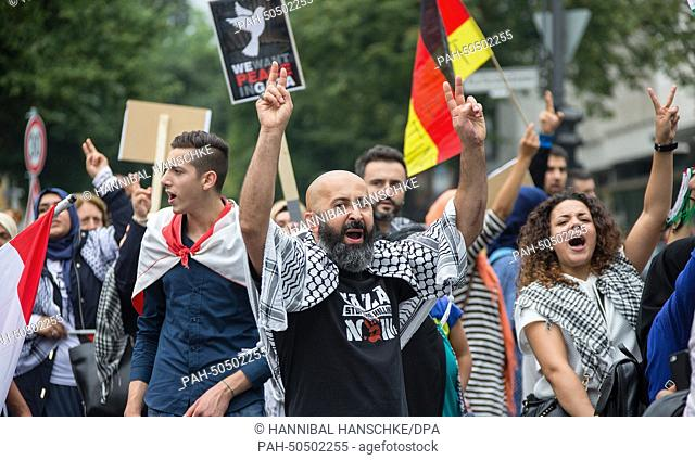 Activists participate at a demonstration as part of Quds Day in Berlin, Germany, 25 July 2014. Quds from al-Quds, the Arabic name for Jerusalem