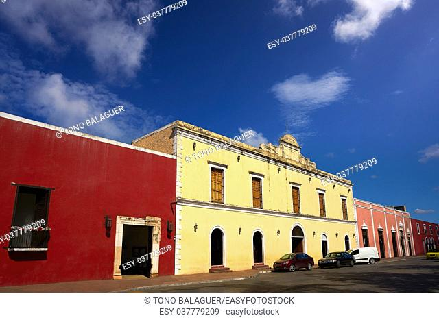 Valladolid city colorful facades Yucatan in Mexico