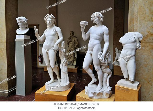 On the left Bacchus Richelieu, right Bacchus by Michelangelo, Museum fuer Abguesse Klassischer Bildwerke museum of casts of classical statues, Meiserstr