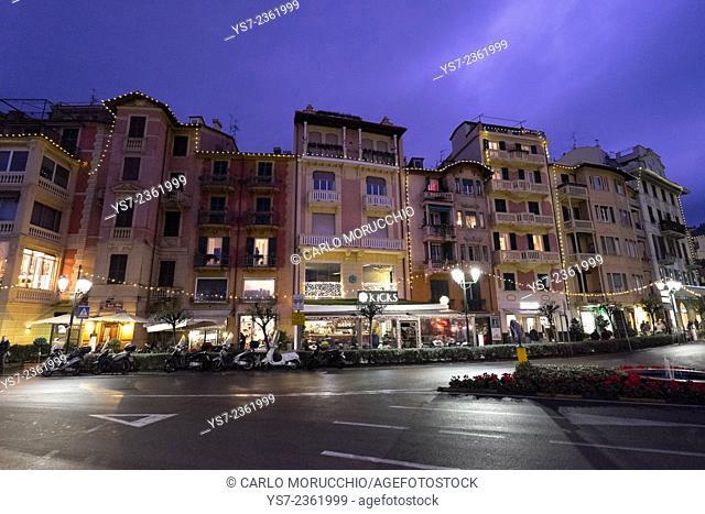 Santa Margherita Ligure at night, Genova, Liguria, Italy, Europe