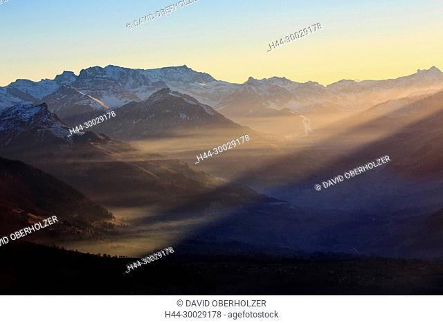 Evening mood, the Alps, mountains, the Bernese Oberland, Europe, sceneries, light mood, Niederhorn, Switzerland, sundown