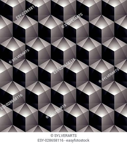 Monochrome abstract textured geometric seamless pattern with 3d geometric figures. Vector black and white textile backdrop