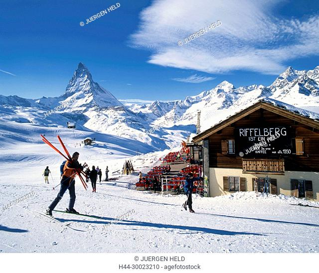Switzerland, Wallis, Zermatt, swiss alps, Mount Matterhorn, Riffelberg, Gorner glacier, skier