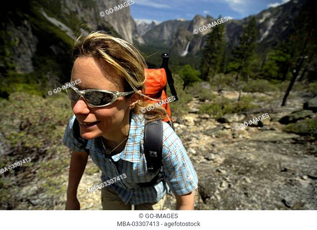 Woman, walk, Yosemite national park, the USA