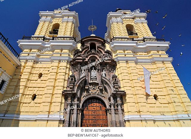 Peru, Lima, San Francisco Church and Convent, Facade of a Cathedral