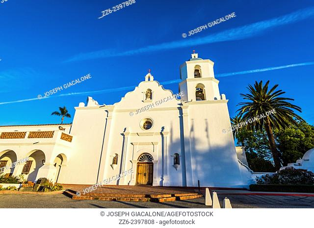 Mission San Luis Rey De Francia (founded 1798) illuminated by the rising Sun. Oceanside, California, United States