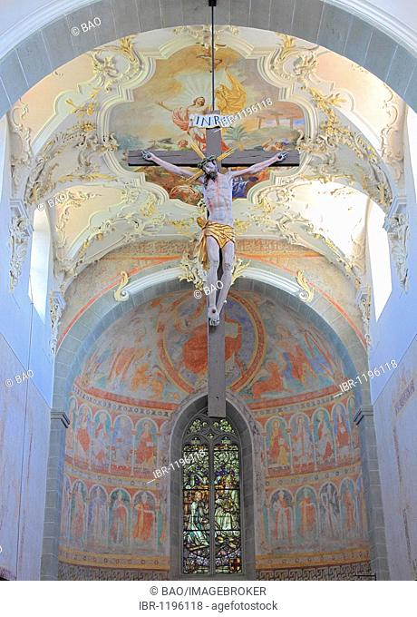 Sanctuary of the church of the Monastery of St. Peter and Paul in Niederzell, Reichenau Island, Lake Constance, Konstanz district, Baden-Wuerttemberg, Germany