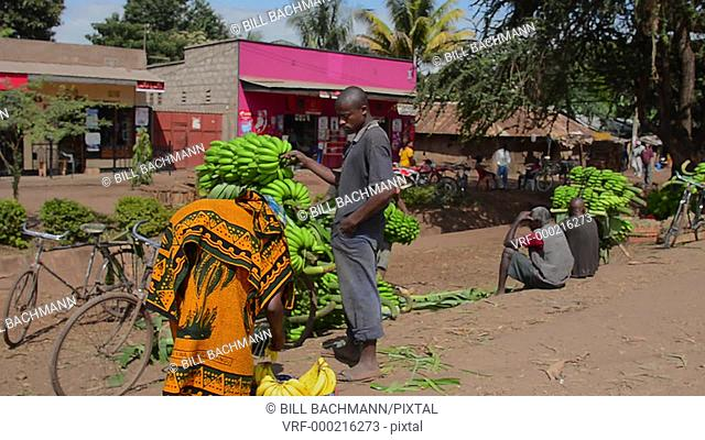 Mosquito Village Mto wa Mbu Tanzania Africa village with fruit and bananas for sale to tourists with lots of color