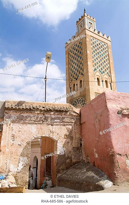 Bab Debbagh, one of Marrakech's city gates, and mosque, Marrakech, Morocco, North Africa, Africa