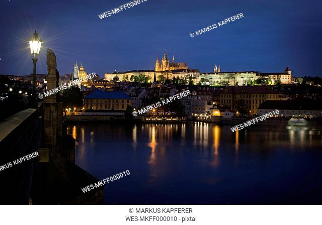 Czechia, Prague, View from Charles Bridge to Prague Castle at night