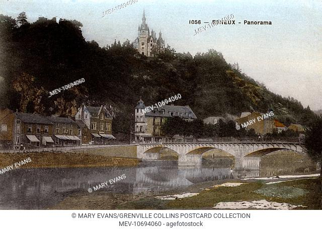 Esneux, a Walloon municipality located in the Belgian province of Liege - Panoramic View of the city and the bridge on the Ourthe river