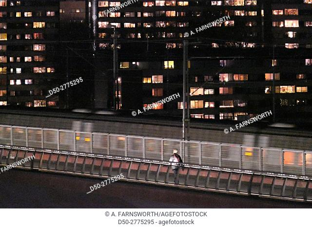STOCKHOLM, SWEDEN Noridc Noire shots of liljeholmen suburb at night. Šrsta Bridge