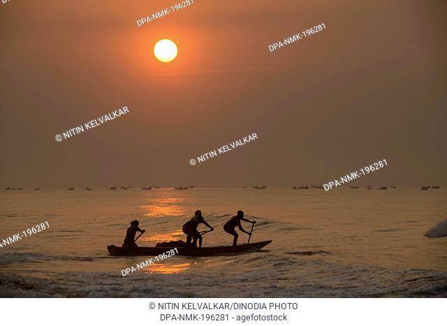 Fishing boat in sea, puri, orissa, india, asia