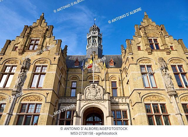 Renaissance Style Bulding in Grote Markt. Ypres. West Flanders. Belgium