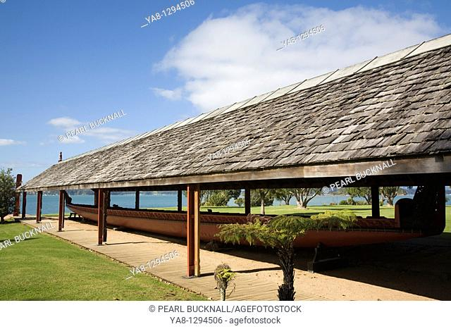 Waitangi Bay of Islands Northland North Island New Zealand  Whare Waka canoe house with largest Maori war canoe Ngatokimatawhaorua at Waitangi National Reserve...