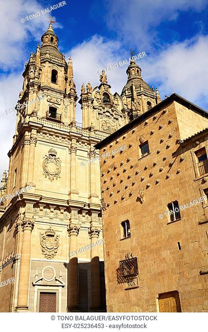 Salamanca Clerecia church and Casa Conchas shell house in Spain
