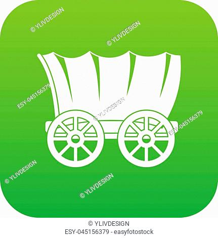 Ancient western covered wagon icon digital green for any design isolated on white vector illustration